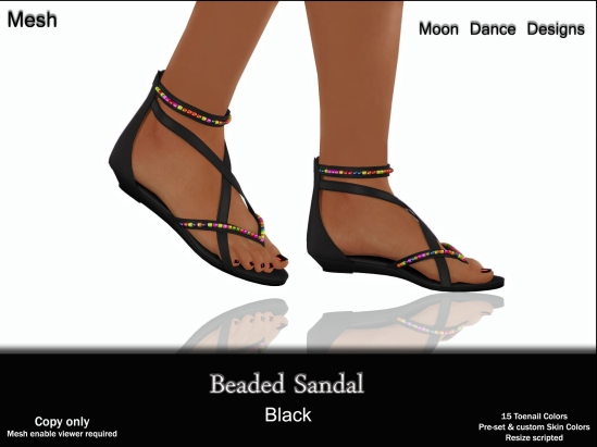 Beaded Sandal-Black