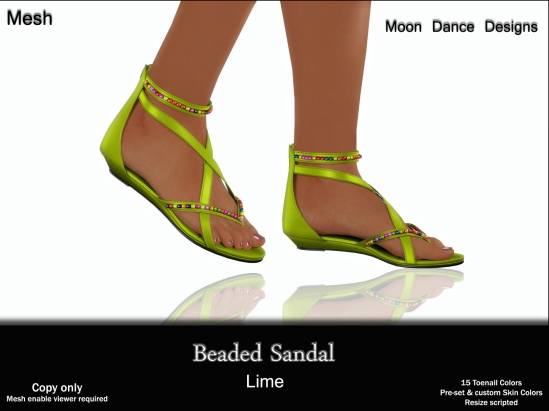 Beaded Sandal-Lime