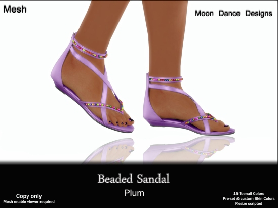 Beaded Sandal-Plum