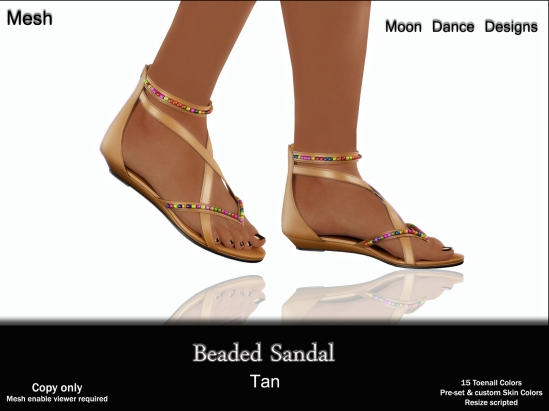 Beaded Sandal-Tan