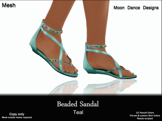Beaded Sandal-Teal
