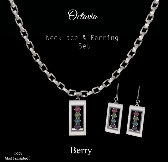 Octavia Necklace Earring Set-Berry