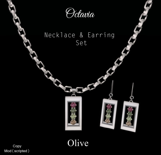 Octavia Necklace Earring Set-Olive