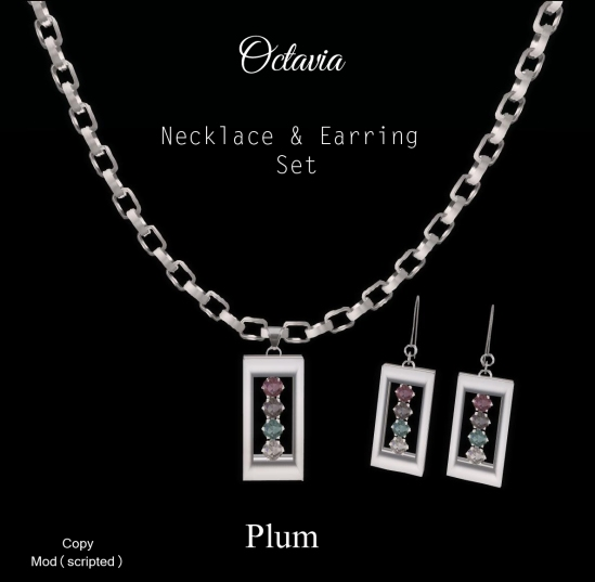 Octavia Necklace Earring Set-Plum