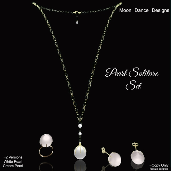 Pearl Solitare Set-Gold