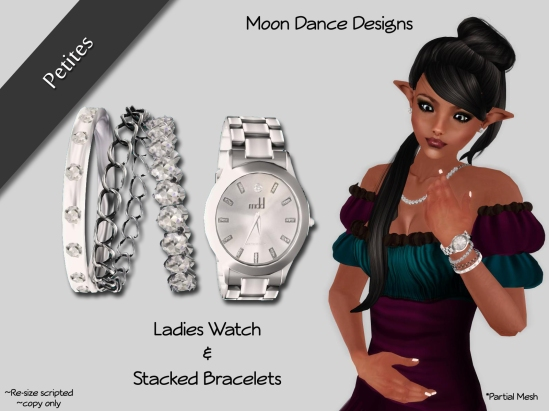 Ladies Watch and Stacked Bracelets PETITES