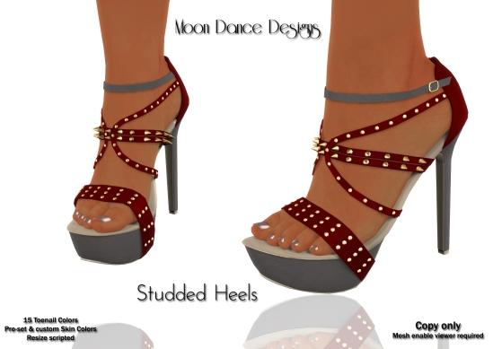 Studded Heels-Grey